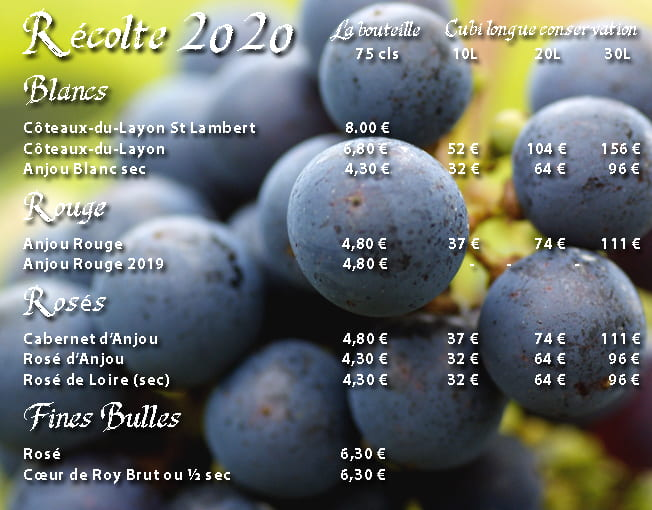 tarifs vins grande chauviere 2021